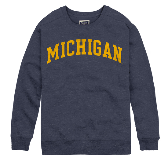 League Collegiate Outfitters University of Michigan Women's Heather Navy Boyfriend Crew