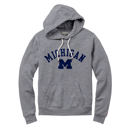 League Collegiate Outfitters University of Michigan Women's Heather Gray Victory Springs Hooded Sweatshirt