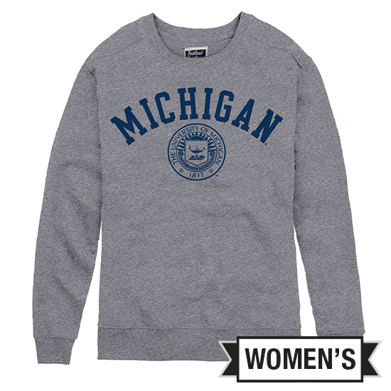 League Collegiate Outfitters University of Michigan Women's Heather Gray Victors Springs Seal Crewneck Sweatshirt