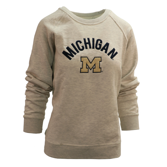 League Collegiate Outfitters University of Michigan Women's Oatmeal Academy Crewneck Sweatshirt