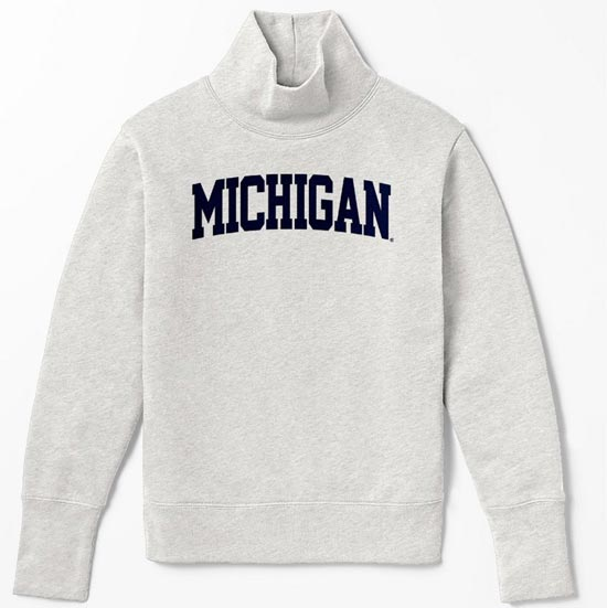 League Collegiate Outfitters University of Michigan Women's Oatmeal Academy Turtleneck Sweatshirt
