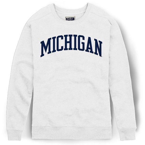 League Collegiate Outfitters University of Michigan Women's White Victory Springs Boyfriend Crewneck Sweatshirt