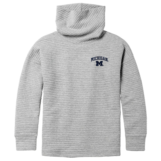 League Collegiate Outfitters University of Michigan Women's Gray Hampton Turtleneck Ribbed Sweatshirt