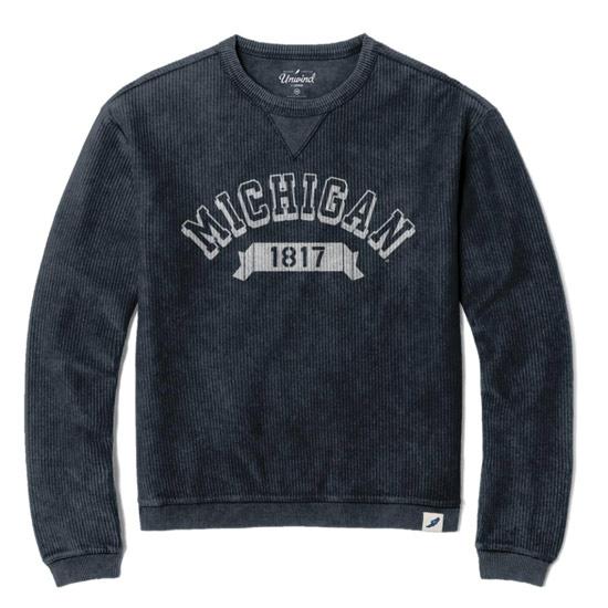 Unwind by League University of Michigan Women's Garment Washed Navy Timber Corduroy Crewneck Sweatshirt