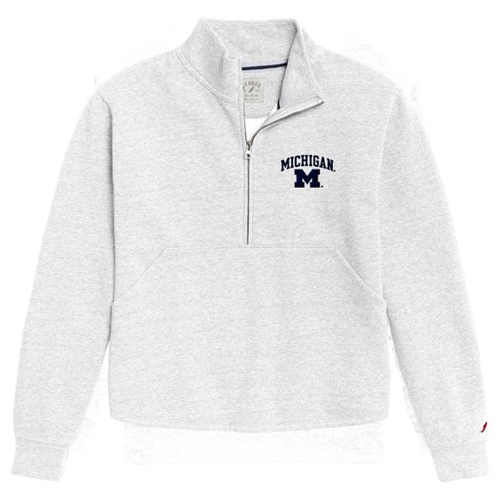 League Collegiate Outfitters University of Michigan Women's White Victory Springs 1/2 Zip Pullover Sweatshirt