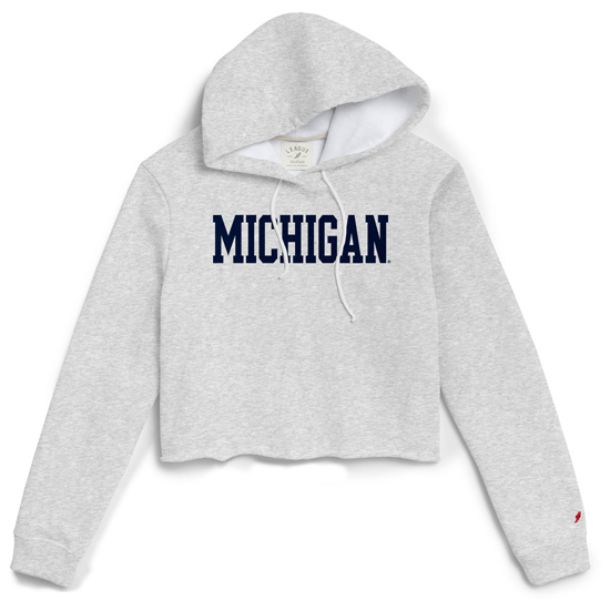 League Collegiate Outfitters University of Michigan Women's Ash Gray Cropped Hooded Sweatshirt