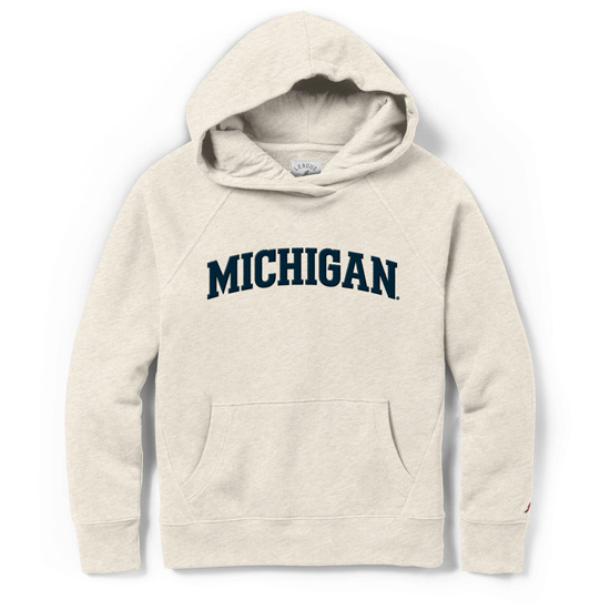 League Collegiate Outfitters University of Michigan Women's Oatmeal Academy Hooded Sweatshirt