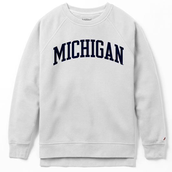 League Collegiate Outfitters University of Michigan Women's White Academy Crewneck Sweatshirt