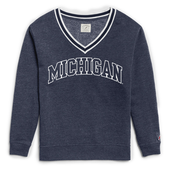 League Collegiate Outfitters University of Michigan Women's Heather Navy Victory Springs V-Neck Sweatshirt