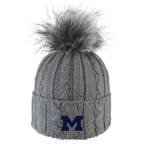 LogoFit University of Michigan Women's Gray ''Alps'' Cable Knit Cuffed Faux Fur Pom Knit Hat