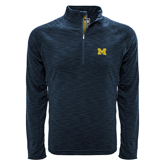 Levelwear University of Michigan Heather Blue Mobility 1/4 Zip Pullover