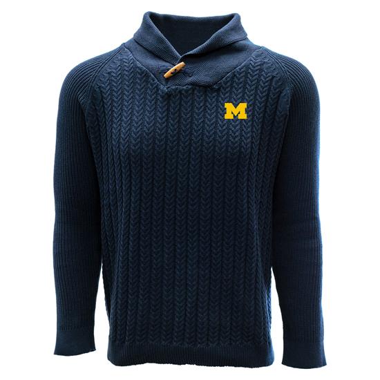 Salute University of Michigan Navy Heritage Button Neck Shawl Collar Sweater