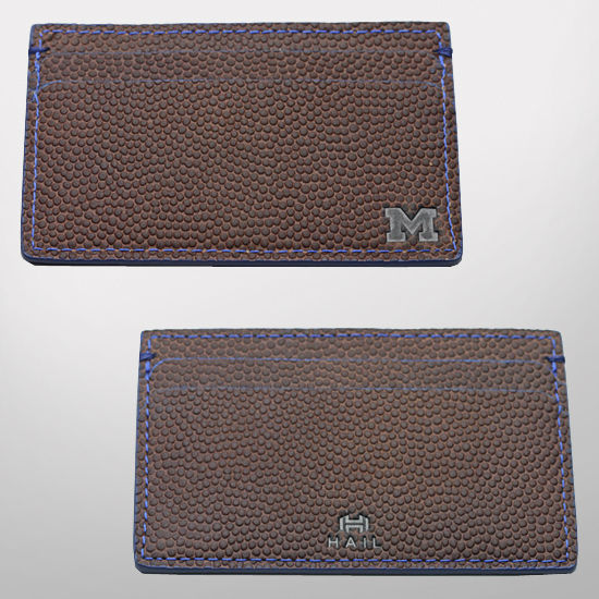 HAIL Brand University of Michigan Football Leather 5-Pocket Card Wallet