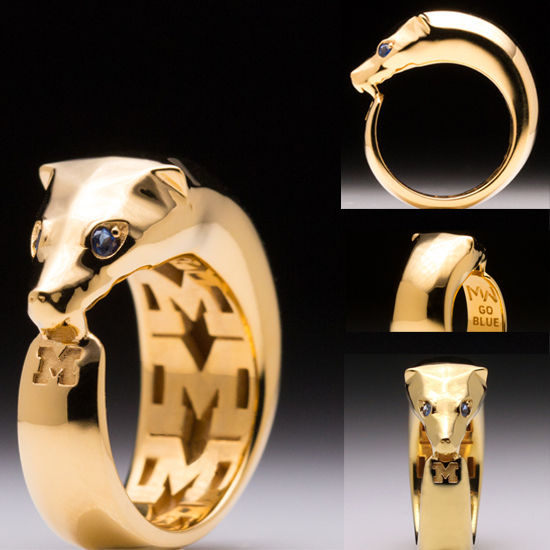 MaraWatch & Co. University of Michigan 18k Yellow GP Wolverine Ring