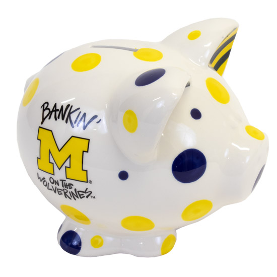 Magnolia Lane Pottery University of Michigan Piggy Bank