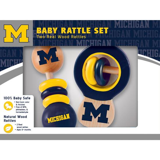 Masterpieces University of Michigan Wooden Baby Rattle Set