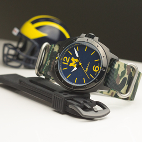 HAIL Brand University of Michigan ''Warrior'' Black Case Watch with Camouflage NATO Band