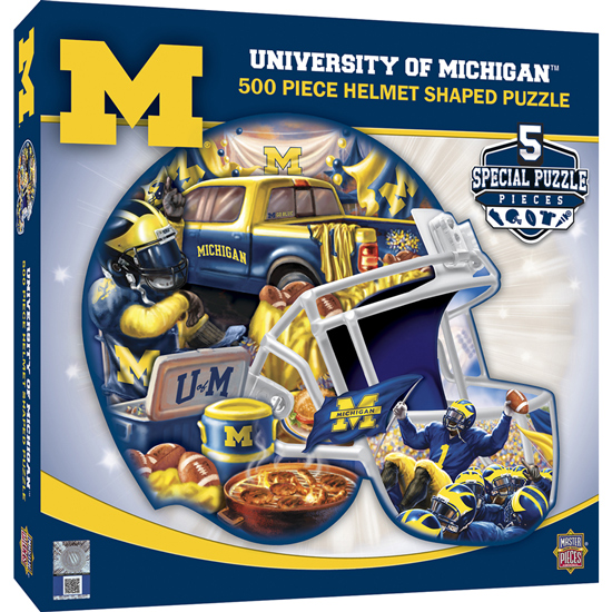 Masterpieces University of Michigan Football Helmet Shaped 500 Piece Puzzle