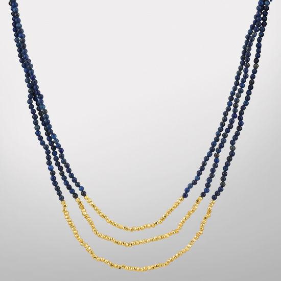 HAIL Brand University of Michigan Three Strand Blue Lapis and Pyrite Necklace