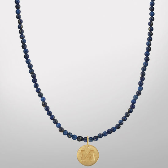 HAIL Brand University of Michigan Blue Lapis Necklace with Block M Charm