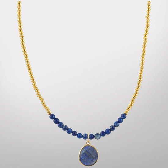 HAIL Brand University of Michigan 24k Gold Plated Silver and Lapis Charm Necklace