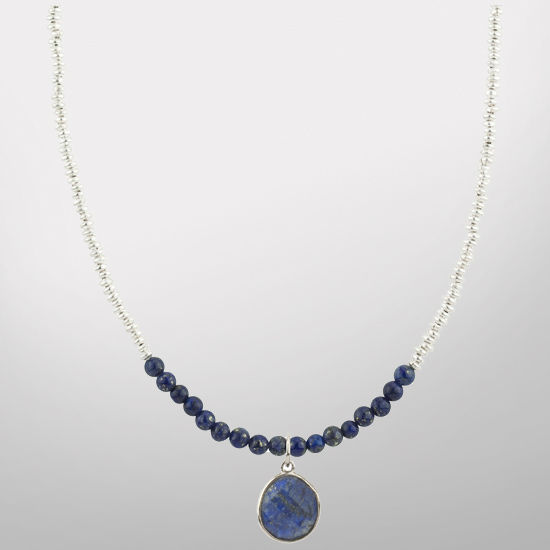 HAIL Brand University of Michigan Sterling Silver and Lapis Charm Necklace