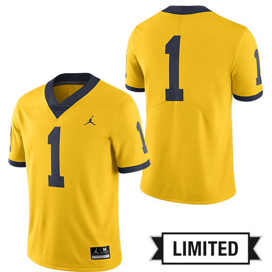cb728d313b75 Jordan University of Michigan Football Maize  1 Limited Alternate Jersey.  Product Thumbnail Product Thumbnail Product Thumbnail