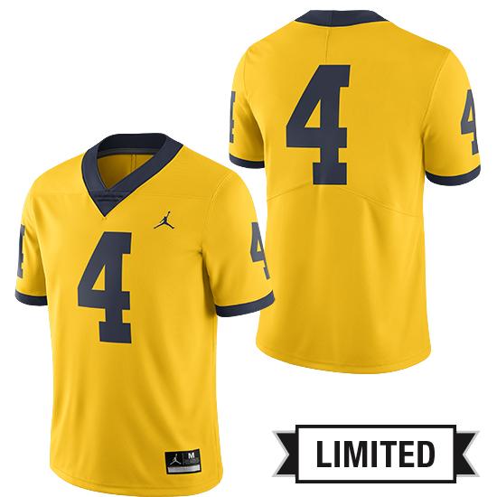 21627aa1843 Jordan University of Michigan Football Maize #4 Limited Alternate Jersey