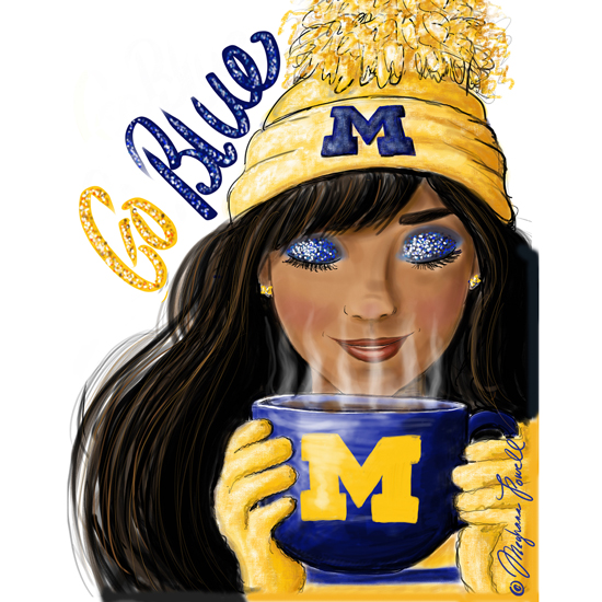 Meghann Powell Illustrations University of Michigan ''Go Blue Coffee'' Print