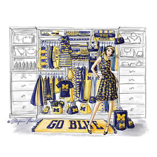 Meghann Powell Illustrations University of Michigan ''Ready for Game Day'' Print
