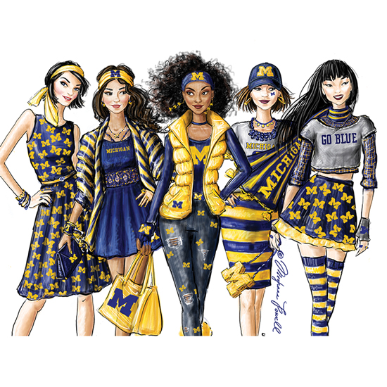 Meghann Powell Illustrations University of Michigan ''UMich Girls'' Print