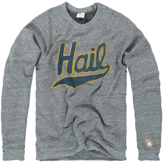 The Mitten State University of Michigan Heather Gray ''HAIL'' Triblend Crewneck Sweatshirt
