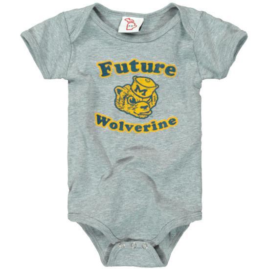 The Mitten State University of Michigan Infant Gray ''Future Wolverine'' College Vault Onesie