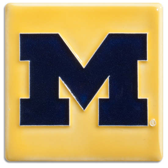 Motawi Tileworks University of Michigan Maize Block ''M'' Tile