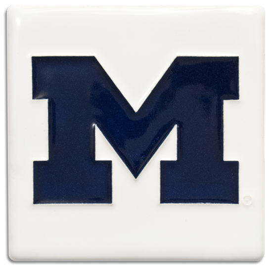 Motawi Tileworks University of Michigan White with Navy Block ''M'' Tile