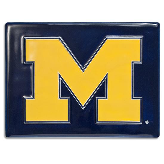 Motawi Tileworks University of Michigan 6 x 8 Navy Block ''M'' Tile