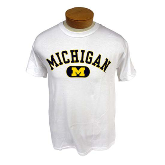 University of Michigan White Bar ''M'' Tee