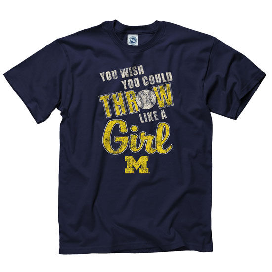 University of Michigan Softball Navy ''Throw Like a Girl'' Tee