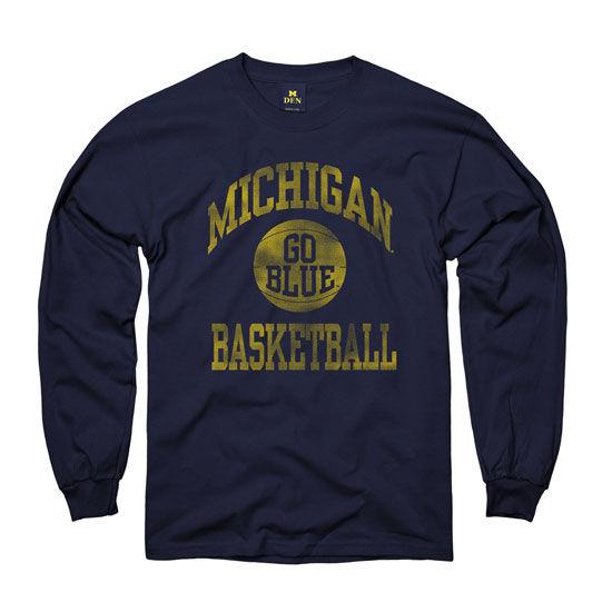 New Agenda University of Michigan Basketball Navy Long Sleeve Tee