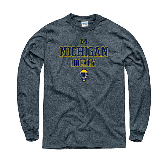 University of Michigan Hockey Charcoal Gray Long Sleeve Tee