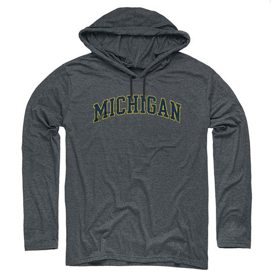 University of Michigan Dark Heather Gray Long Sleeve Hooded Tee