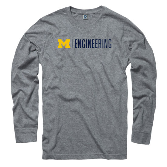 University of Michigan Engineering Gray Long Sleeve Tee