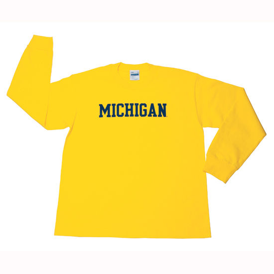 University of Michigan Youth Long Sleeve Yellow Tee