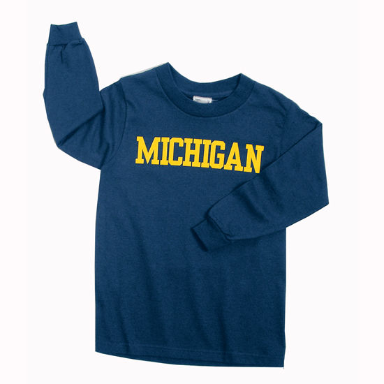 New Agenda University of Michigan Youth Basic Navy Long Sleeve Tee