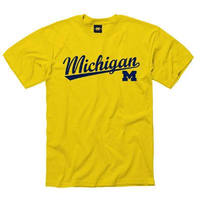 University of Michigan Yellow Script Tee