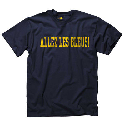 University of Michigan French Navy Language Tee