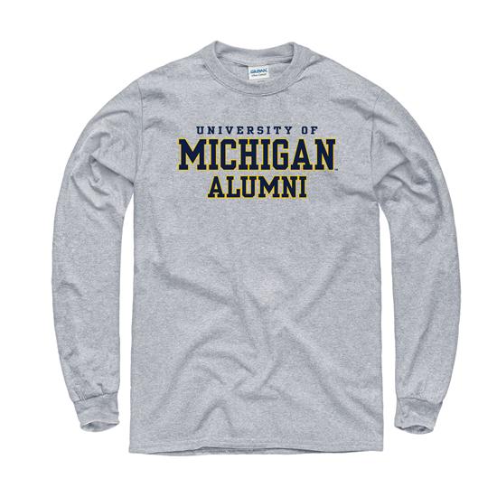 University of Michigan Alumni Oxford Gray Long Sleeve Tee