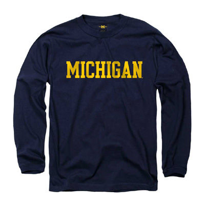 New Agenda Navy Long Sleeve University of Michigan Tee