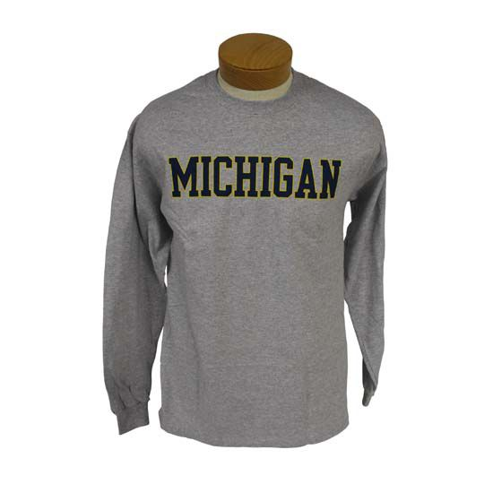 University of Michigan Gray Long Sleeve Basic Tee