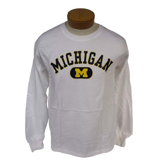 University of Michigan White Long Sleeve Oval Block ''M'' Tee